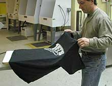 Uload the t-shirt from the platen