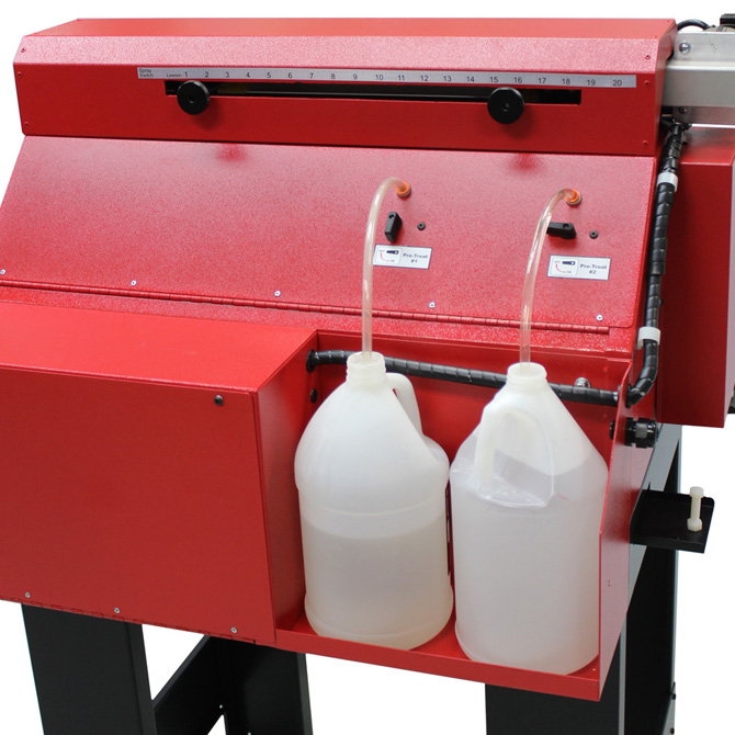 Lawson Pre-Treat Vertical Pretreatment Sprayer - Closed, loaded with a T-shirt